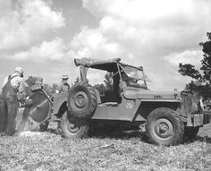 """flatfendersforever: """"1944 Willys CJ2 AgriJeep with pto powered buzz saw attachment. One of 45 ever built, this is an early model as it has the brass JEEP plates on the hood and windshield and forward..."""