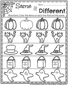 Kindergarten worksheets preschool kindergarten kindergarten worksheets same Fall Preschool, Preschool At Home, Preschool Kindergarten, Preschool Worksheets, Preschool Learning, Preschool Halloween Lesson Plans, Kindergarten Activities, Fun Learning, Preschool Homework