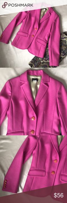 J.Crew Wool Blazer Hot Pink Schoolboy Blazer Perfectly Pink J.Crew Wool Blazer. Size 6. Gold and orange buttons. Heavier blazer. Total class. ~Price is Firm. No further discount unless bundled. Please no offers. I price fairly and in accordance to both Posh's shipping and seller fee. ~No modeling. I sell for me and 2 of my friends. Mostly everything I sell is now too small for my post-prego body, so I cannot model. J. Crew Jackets & Coats Blazers