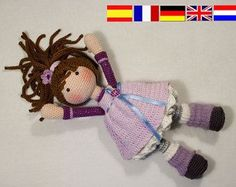 Please note: This listing is for a CROCHET PATTERN to make the pictured doll and NOT FOR A FINISHED ITEM  This pattern is availabe in English, German, French, Spanish and Dutch language.  This listing is for an extensive PDF file which contains full instructions for crocheting and finishing off the doll SUE. The pattern uses US crochet terms.  The file is 20 pages long and contains a lot of detailed step-by-step photographs along with full pattern instructions and tips for crocheting…