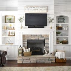 Farmhouse Fireplace Stone and Shiplap. Farmhouse Fireplace Stone and Shiplap. The fireplace stone is hand selected dry stack stone. #Farmhouse #FarmhouseFireplace #StoneandShiplapFireplace #FarmhouseShiplapFireplace #FarmhouseStoneFireplace Beautiful Homes of Instagram /ourvintagenest/