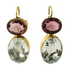 Regency Amethyst Aquamarine Gold Earrings. Foiled Amethyst and Aquamarine drop earrings in 15ct Gold, c 1800