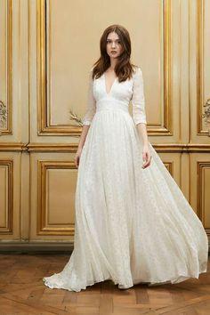 Bridal dress by Delphine Manivet 2015 2015.  Long sleeves v neckline, High-waisted