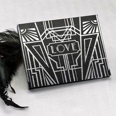 Personalized Black Guest Book with Silver Foil Art Deco Design