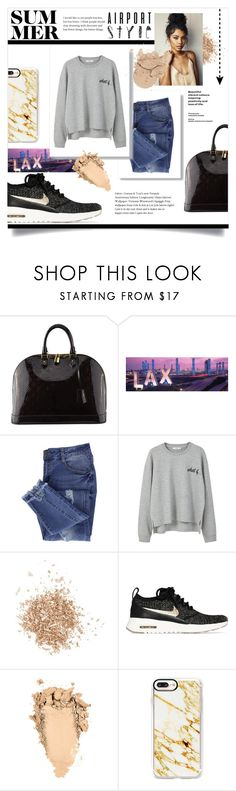 """Airport Style"" by britneymai ❤ liked on Polyvore featuring Louis Vuitton, Essie, MANGO, Topshop, NIKE, Casetify and airportstyle"