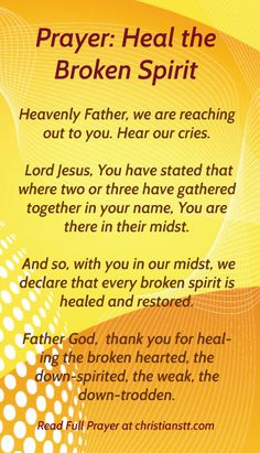 Prayer healing for the broken hearted