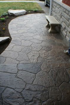 Stamped Concrete Walkway, Colored Concrete Walkway Stamped Concrete Allcrete Design Keswick, Ontario