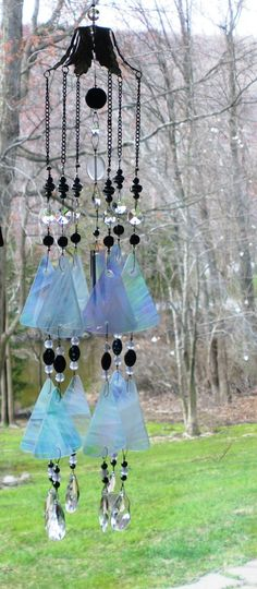 black and white wind chime sun catcher  black by FragmentsGlass,