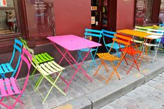 colorful tables & chairs | cheap, effective