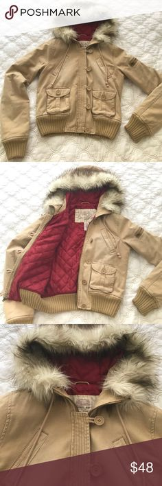 Abercrombie & Fitch Hooded Bomber Jacket Awesome Fall and Winter bomber jacket from Abercrombie & Fitch. Zip and button closure, fur-lined hood, inner lining for extra warmth. Great condition - no stains or tears. Size M. Abercrombie & Fitch Jackets & Coats