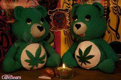 Pot Bear the Marijuana Don't Care Bear plush crochet by Ahookashop