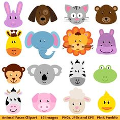 Zoo Animal Faces Clip Art - Luvly Marketplace | Premium Design Resources #animal #clipart