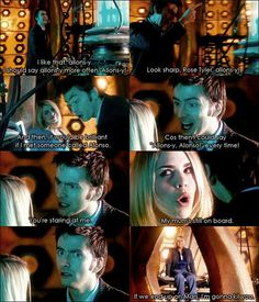 Allons-y!!!! David Tennant. I love that he does find an Alonzo to say it to later. Doctor Who and Rose