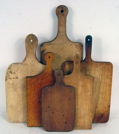 A lovely collection of vintage cutting boards. Do you still use a wood cutting board?