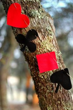 Red and Black Deck of Playing Cards Suites felt garland for casino night theme