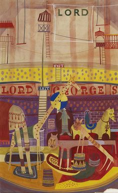 """""""Lord George Sanger's Circus Poster"""" by Peter Blake, 1949 (Watercolour on paper) Fun Illustration, Graphic Design Illustration, Illustration Techniques, Vintage Children's Books, Vintage Art, The Art Of Storytelling, Peter Blake, Circus Poster, Quirky Art"""