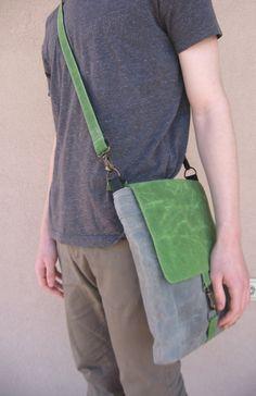 Mens Waxed Canvas Bag Shoulder Bag Waxed Canvas Handbag by Lupiko