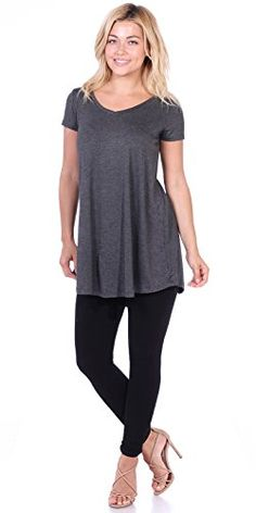 Popana Womens Tunic Tops for Leggings Short Sleeve Summer Shirt Made in USA Long Shirt With Leggings, Tunic Tops For Leggings, Dresses With Leggings, Summer Tunics, Summer Shirts, Casual Summer Outfits, Trendy Outfits, Work Outfits, Short Sleeve Tunic Tops