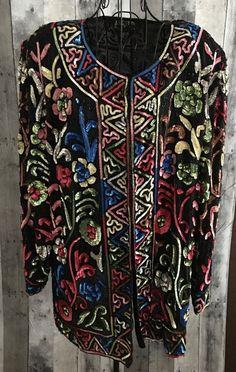 Jakelin Designs Sequin Beaded 100% Silk Top Blouse Jacket Cardigan Plus Size 2X #JakelinDesigns #TopJacket
