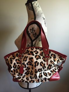 Leather// Vintage 90s Animal Print Cheetah Red by AylasFineGoods