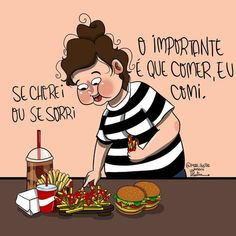 "4,749 curtidas, 136 comentários - Mariana Souza (@mari.ilustra) no Instagram: ""O negócio é tá de bucho cheio . Dia 4 - #desafiodok7"" #love #girl #girls #bomdia #boatarde #boanoite #frases #pensamentos #quotes #tumblr #instagram #verdades #mcdonalds #comida #food Frases Tumblr, Beautiful Words, My Life, Family Guy, Humor, Feelings, Instagram, Funny, Quotes"