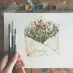 Illustration Watercolor So cute. Artist lucy_inthe_papersky Illustration WatercolorSource : So cute. Artist lucy_inthe_papersky by anifhrnhlz Watercolor Cards, Watercolor Illustration, Watercolor Flowers, Illustration Fashion, Flower Water Color Painting, Painting Flowers, Illustration Artists, Art Sketches, Art Drawings