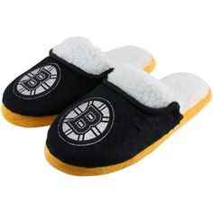 Boston Bruins Ladies Glitter Sherpa Slippers - Black/Gold