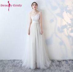 Cheap beach bride, Buy Quality wedding gowns directly from China beach bride dress Suppliers: Beauty-Emily White Wedding Dresses 2017 New Sexy Scoop Tulle Appliques Beach Bride Dress Long Ivory Wedding Gowns Custom made
