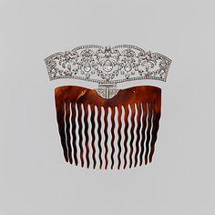 Hair comb by Tiffany & Co | 1910 | Tortiseshell, platinum & diamonds | The Metropolitan Museum of Art