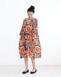 Silk Floral Tunic DressArt Flower Printed Midi by lanbao on Etsy