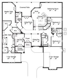 First Floor Plan of Florida   Mediterranean   House Plan 64717