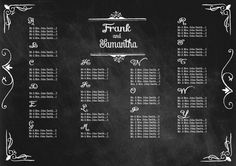 chalkboard Wedding Seating Chart - chalkboard 16x20. $50.00, via Etsy.