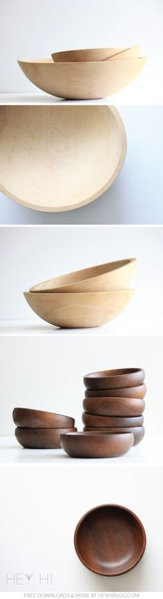 Vintage Wood Bowls. My thrifted collection. Free downloads and more at heyhiblog.com