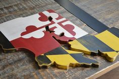 Maryland State Flag Cut out in the State Shape by CaliforniaRustic, $79.00