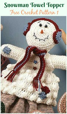 Warm up your kitchen decor this winter with a friendly crochet Snowman Towel Topper stitched using yarn, embroidery floss and decorative buttons. Crochet Gratis, Free Crochet, Knit Crochet, Easy Crochet, Free Knitting, Knitting Patterns, Baby Knitting, Crochet Snowman, Christmas Crochet Patterns