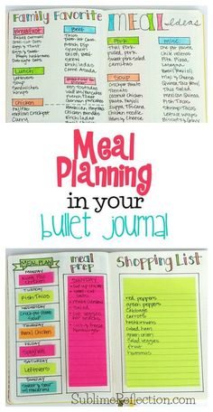 Meal planning in your bullet journal via Sublime Reflection - a great idea for filling blank notebooks