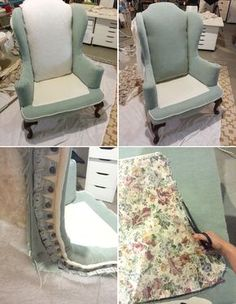 Jenny N. Design: DIY: Reupholster A Wingback Chair