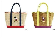 DISNEY Mickey Mouse Abaca x Canvas Tote Bag L Japan Fashion Cream or Camel[73]