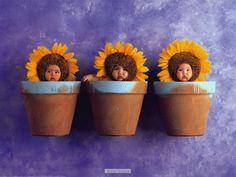 Babies in flower pots