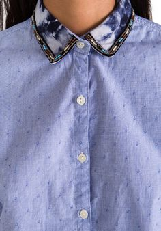 MAISON SCOTCH Button Down Shirt with Embellished Collar in Blue - Tops
