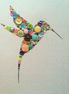 Custom Made Button Art Button Home Decor Made With Buttons & Swarovski Crystals Button Hummingbird Art