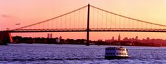 Whitestone Bridge with the NYC Skyline behind it