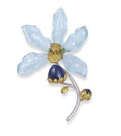 Antique Jewelry Aquamarine, Sapphire, Yellow Diamond and Diamond Orchid Brooch, Carvin French Modern Jewelry, Jewelry Art, Antique Jewelry, Silver Jewelry, Vintage Jewelry, Fine Jewelry, Jewelry Design, Fashion Jewelry, Key Jewelry