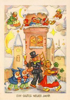 AK - Neujahr - ELISABETH - Kinder, Engel in der Wolke und Zwerge mit Fliegenpilz