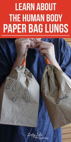 Cool human body activity for kids - Make your own paper bag lungs activity - Learn about the human body and see how the lungs work and the correct names for their anatomy. # human body activities for kids Make Your Own Paper Bag Lungs Activity Human Body Lesson, Human Body Science, Human Body Activities, Human Body Art, Science Activities For Kids, Preschool Science, Science Experiments Kids, Science Lessons, Science Fun