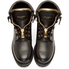 Balmain Black and Gold Leather Taiga Boots (1,330 CAD) ❤ liked on Polyvore featuring shoes, boots, ankle booties, genuine leather boots, mid-calf boots, cut out ankle booties, cutout ankle booties and round cap