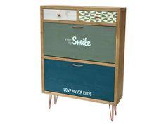 Specyfikacja produktu: Symbol: F014 Wymiary: 81 x 24 x 109 Kolekcja: Portofino Materiał: Drewno jodły, metalowe uchwyty i nogi Kolor: Surowe jasne drewno, front szuflad zielony, niebieski, biały i w d ...