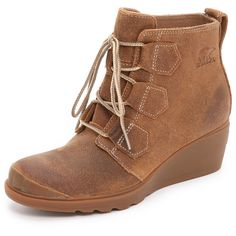 Sorel Toronto Lace Up Booties ($76) ❤ liked on Polyvore featuring shoes, boots, ankle booties, elk, leather boots, wedge boots, lace-up ankle booties, sorel boots and lace up booties