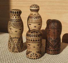 Wood burning kokeshi dolls by ie
