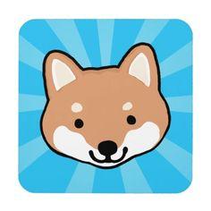 Shiba Inu Cartoon Dog Blue Starburst Coaster